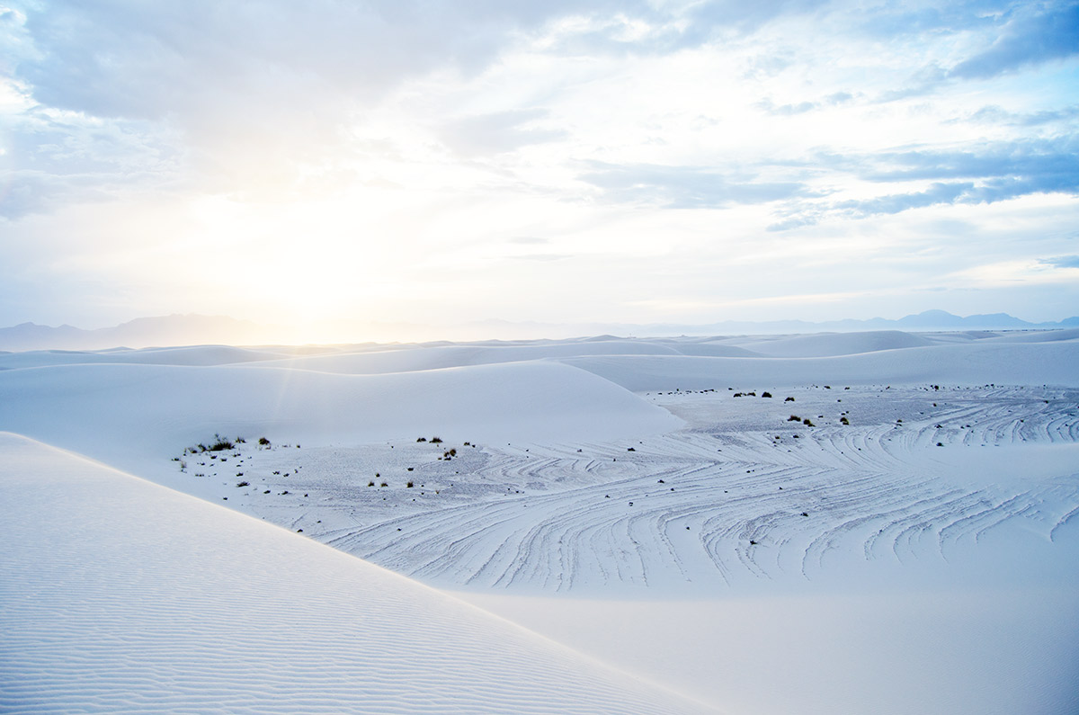 White Sands National Monument Alamogordo New Mexico gypsum sand dunes thunderstorm desert road trip america go west sisters camping