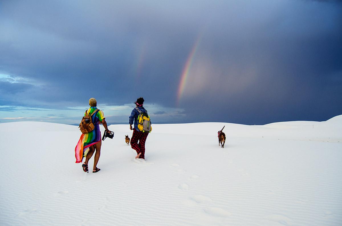 White Sands National Monument Alamogordo New Mexico gypsum sand dunes thunderstorm desert rainbow road trip america go west sisters camping