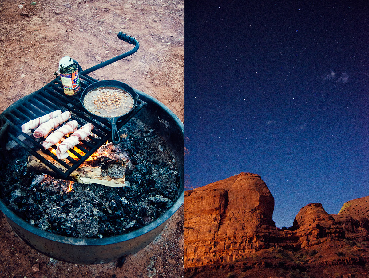 road trip america go west sisters camping driving monument vallery gouldings campground utah cooking open flame fire