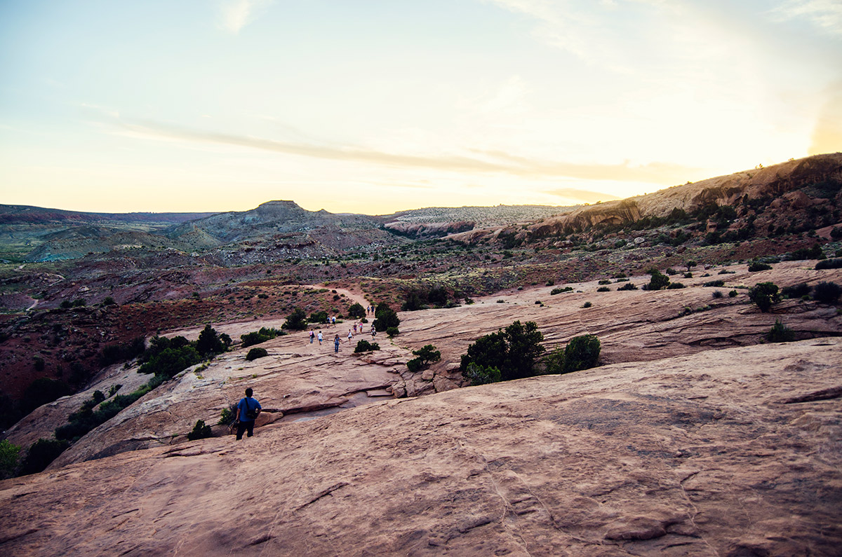 road trip america go west sisters camping driving Arches National Park