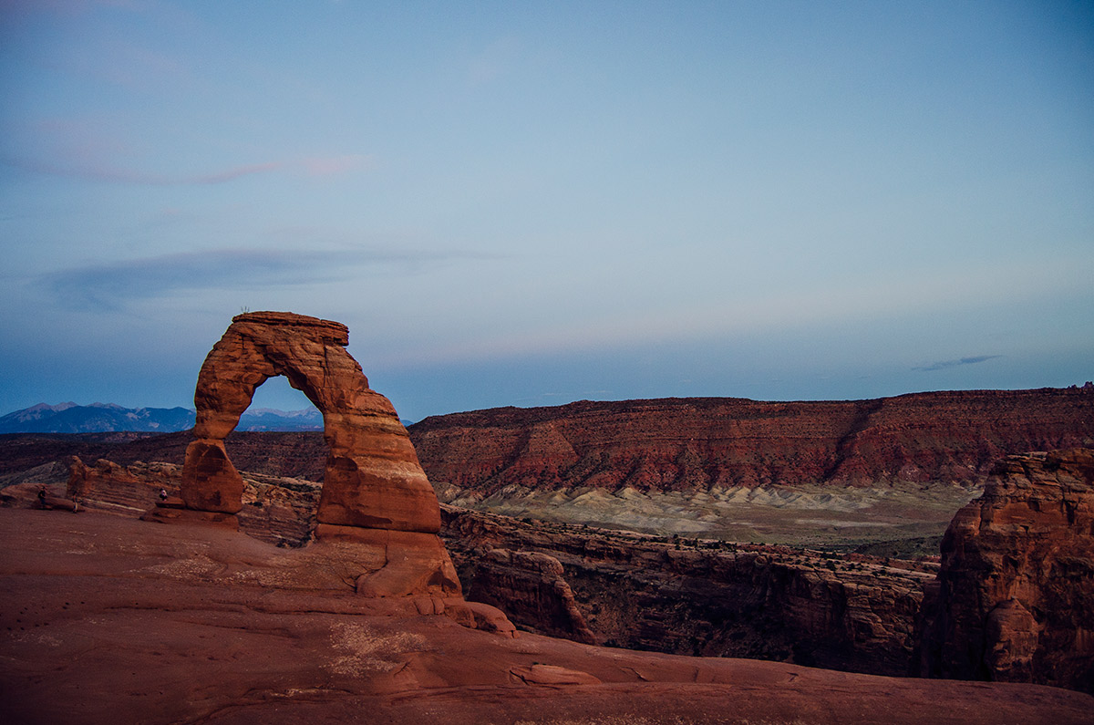 road trip america go west sisters camping driving Arches National Park delicate arch