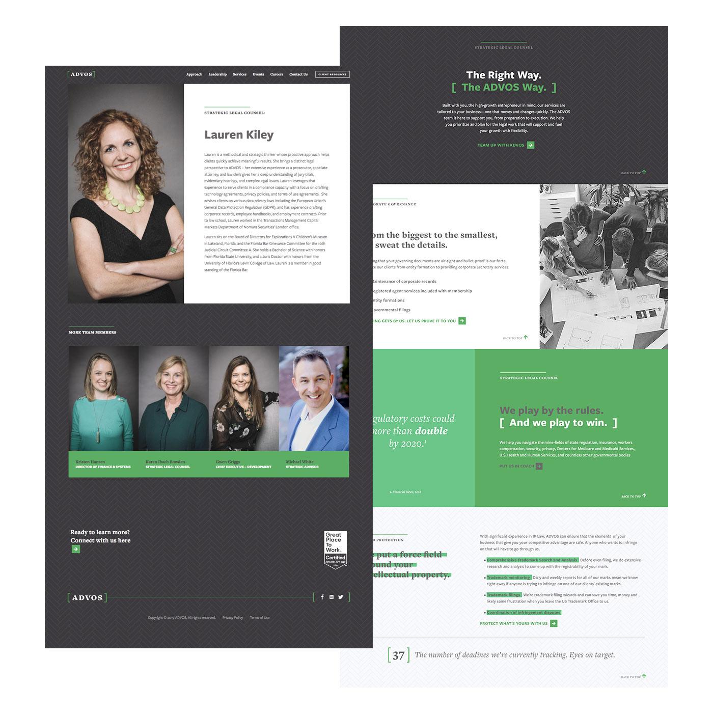Advos website design UX