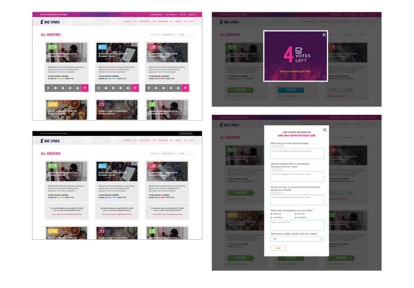 one spark idea festival ui website design brittany norris